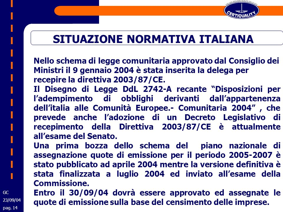 SITUAZIONE NORMATIVA ITALIANA Nello schema di legge comunitaria approvato dal Consiglio dei Ministri il 9 gennaio 2004 è stata inserita la delega per