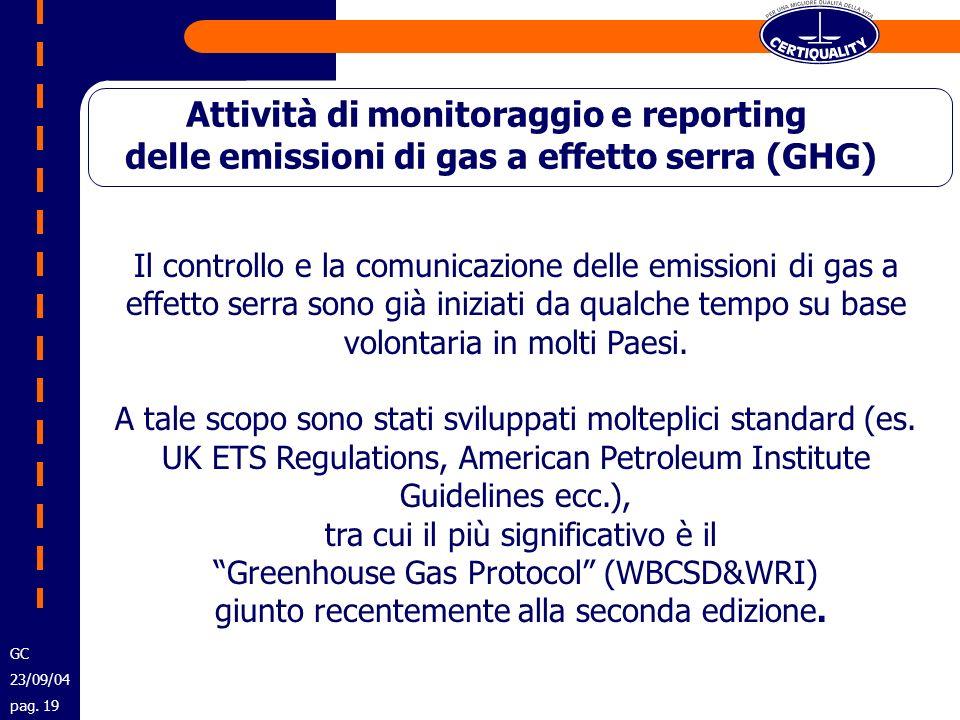 Attività di monitoraggio e reporting delle emissioni di gas a effetto serra (GHG) Il controllo e la comunicazione delle emissioni di gas a effetto ser