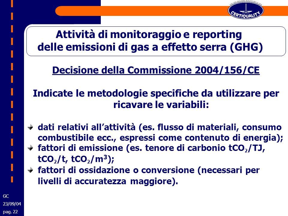 Decisione della Commissione 2004/156/CE Indicate le metodologie specifiche da utilizzare per ricavare le variabili: dati relativi allattività (es. flu