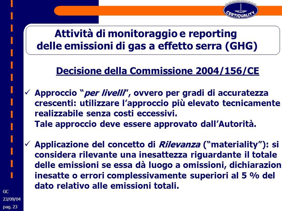 Decisione della Commissione 2004/156/CE per livelli Approccio per livelli, ovvero per gradi di accuratezza crescenti: utilizzare lapproccio più elevat