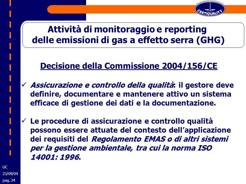 Decisione della Commissione 2004/156/CE Assicurazione e controllo della qualità Assicurazione e controllo della qualità: il gestore deve definire, doc