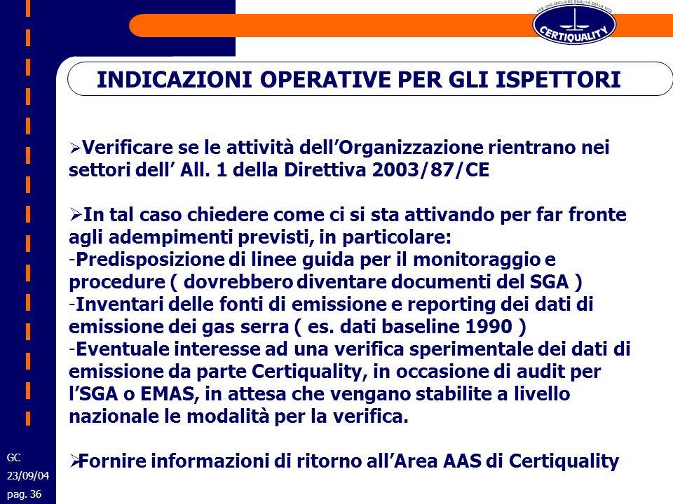 INDICAZIONI OPERATIVE PER GLI ISPETTORI GC 23/09/04 pag. 36 Verificare se le attività dellOrganizzazione rientrano nei settori dell All. 1 della Diret