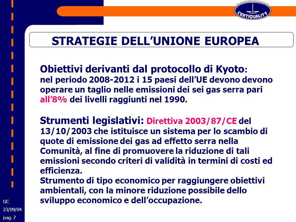 STRATEGIE DELLUNIONE EUROPEA Obiettivi derivanti dal protocollo di Kyoto : nel periodo 2008-2012 i 15 paesi dellUE devono devono operare un taglio nel