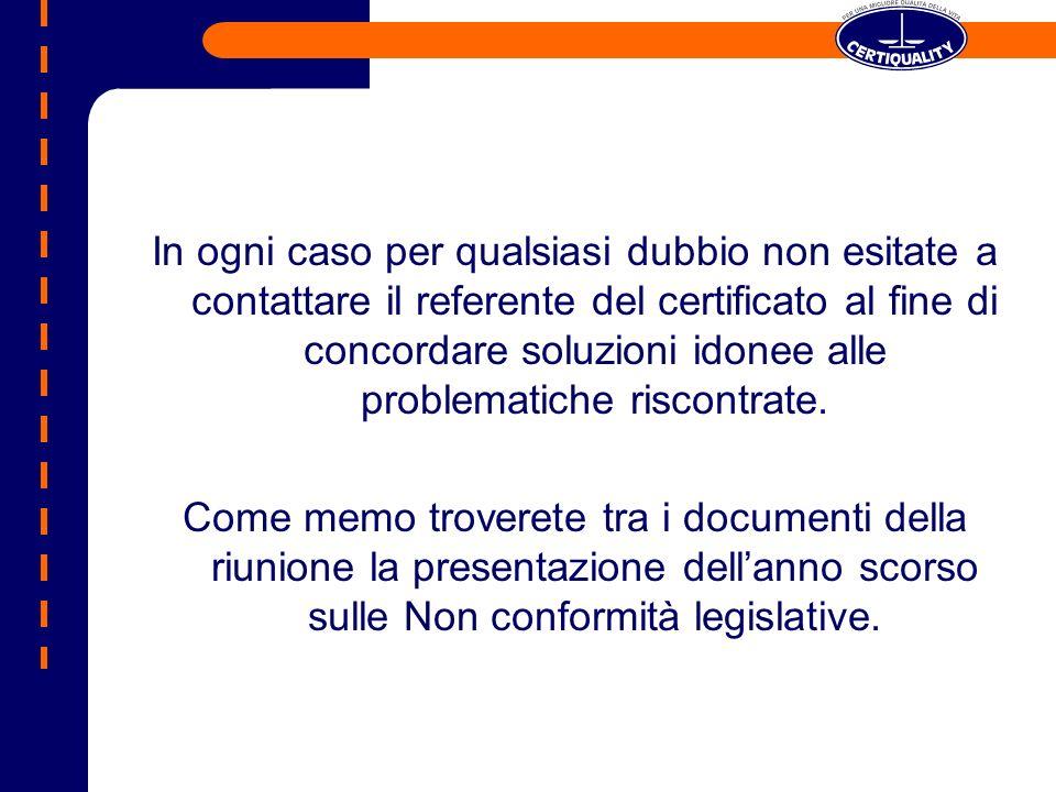 In ogni caso per qualsiasi dubbio non esitate a contattare il referente del certificato al fine di concordare soluzioni idonee alle problematiche risc