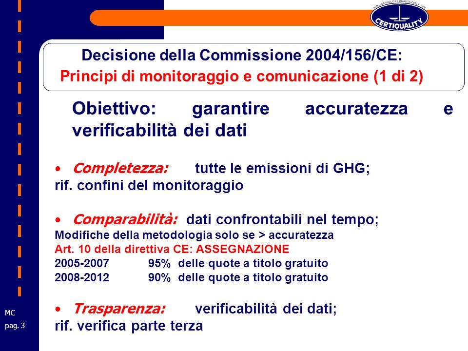 Obiettivo: garantire accuratezza e verificabilità dei dati Completezza: tutte le emissioni di GHG; rif.