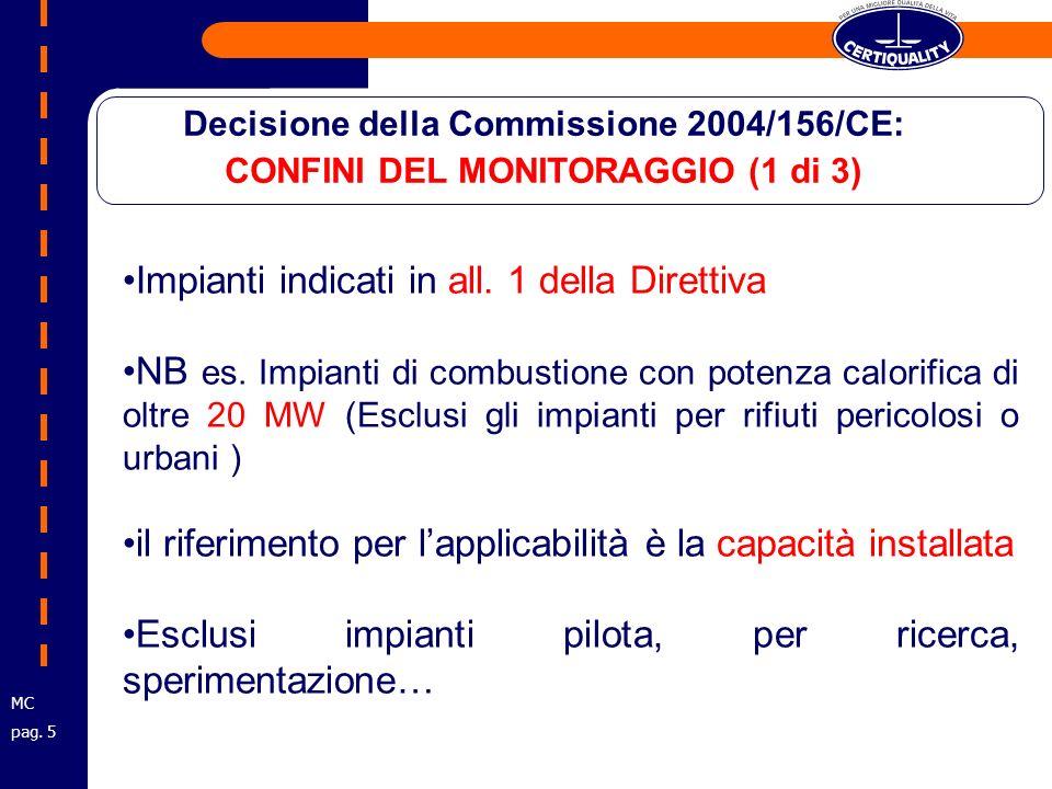 Impianti indicati in all. 1 della Direttiva NB es.