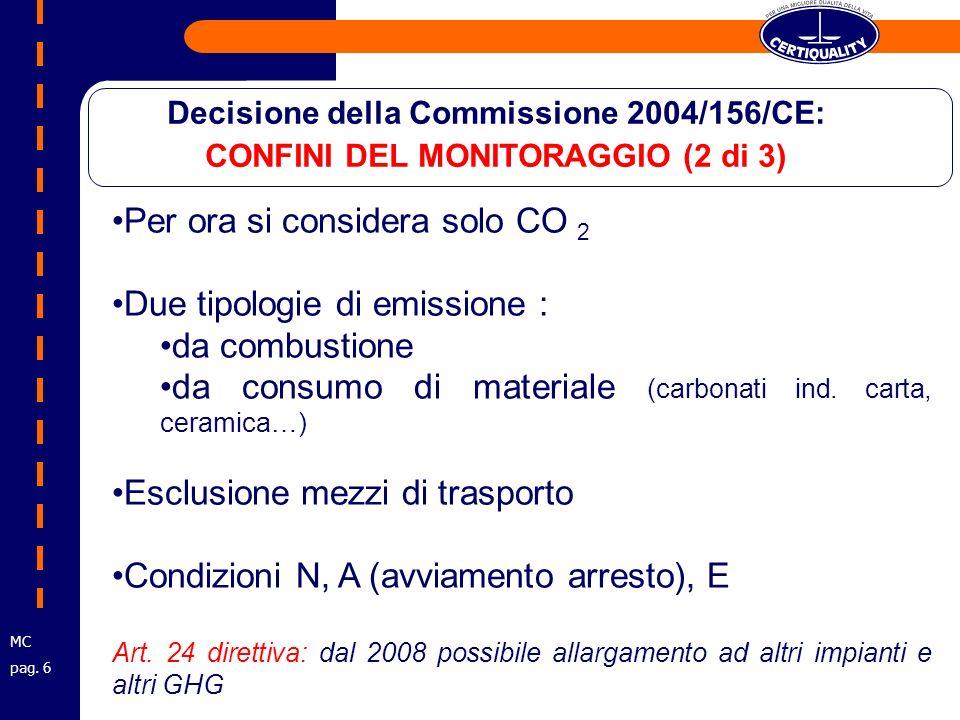 Per ora si considera solo CO 2 Due tipologie di emissione : da combustione da consumo di materiale (carbonati ind.