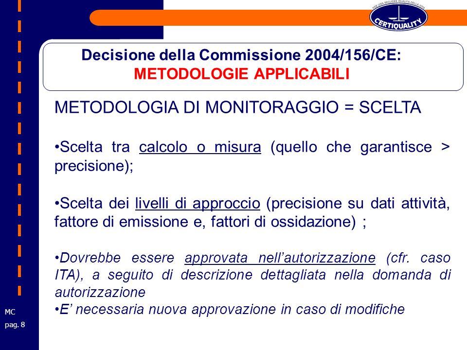 METODOLOGIA DI MONITORAGGIO = SCELTA Scelta tra calcolo o misura (quello che garantisce > precisione); Scelta dei livelli di approccio (precisione su dati attività, fattore di emissione e, fattori di ossidazione) ; Dovrebbe essere approvata nellautorizzazione (cfr.