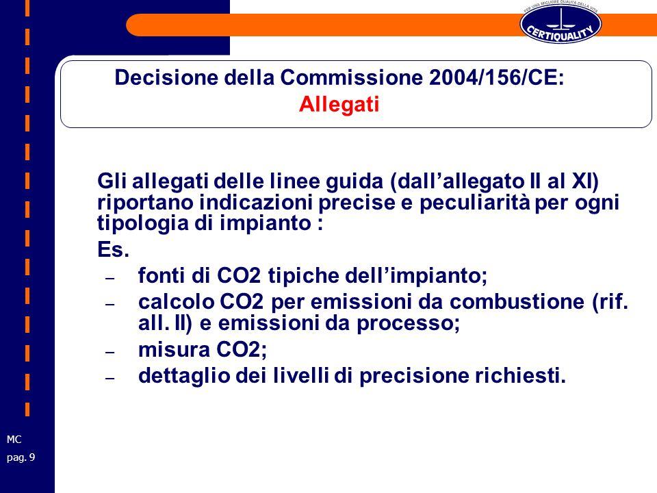 Gli allegati delle linee guida (dallallegato II al XI) riportano indicazioni precise e peculiarità per ogni tipologia di impianto : Es.