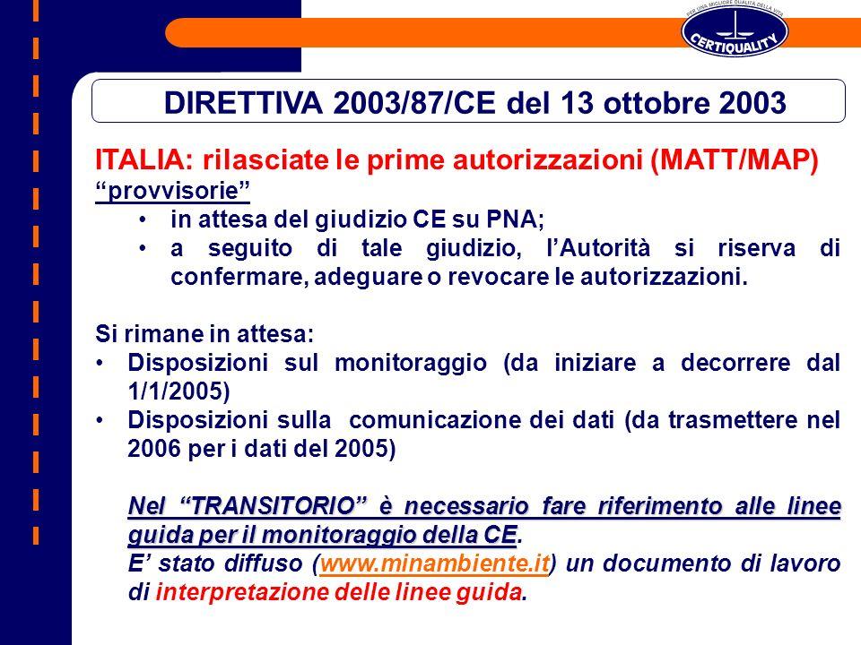 ITALIA: rilasciate le prime autorizzazioni (MATT/MAP) provvisorie in attesa del giudizio CE su PNA; a seguito di tale giudizio, lAutorità si riserva d