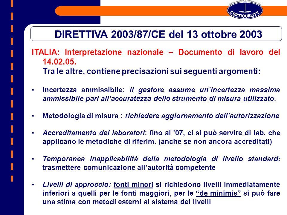 ITALIA: Interpretazione nazionale – Documento di lavoro del 14.02.05. Tra le altre, contiene precisazioni sui seguenti argomenti: Incertezza ammissibi