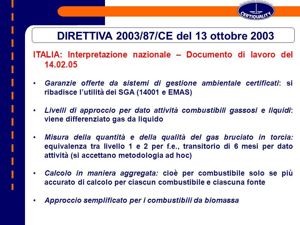 ITALIA: Interpretazione nazionale – Documento di lavoro del 14.02.05 Garanzie offerte da sistemi di gestione ambientale certificati: si ribadisce luti