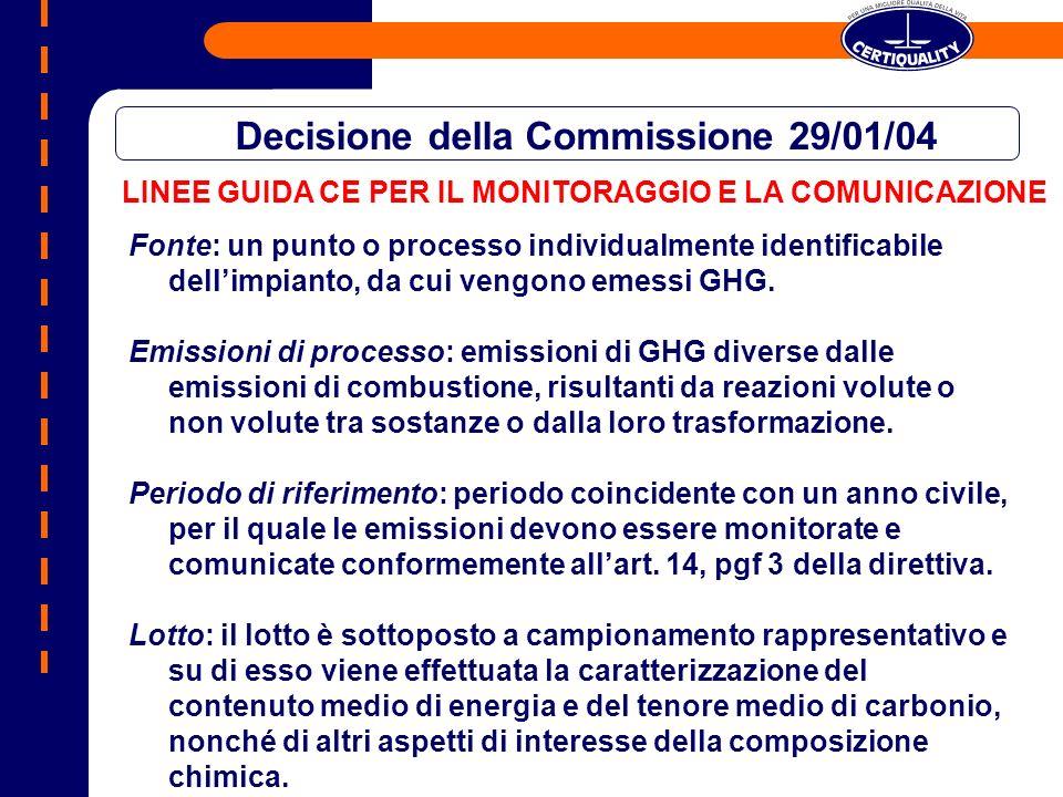 LINEE GUIDA CE PER IL MONITORAGGIO E LA COMUNICAZIONE Decisione della Commissione 29/01/04 Fonte: un punto o processo individualmente identificabile dellimpianto, da cui vengono emessi GHG.