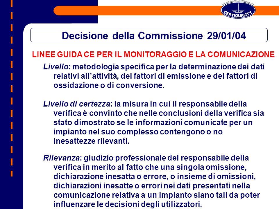 LINEE GUIDA CE PER IL MONITORAGGIO E LA COMUNICAZIONE Decisione della Commissione 29/01/04 Livello: metodologia specifica per la determinazione dei dati relativi allattività, dei fattori di emissione e dei fattori di ossidazione o di conversione.