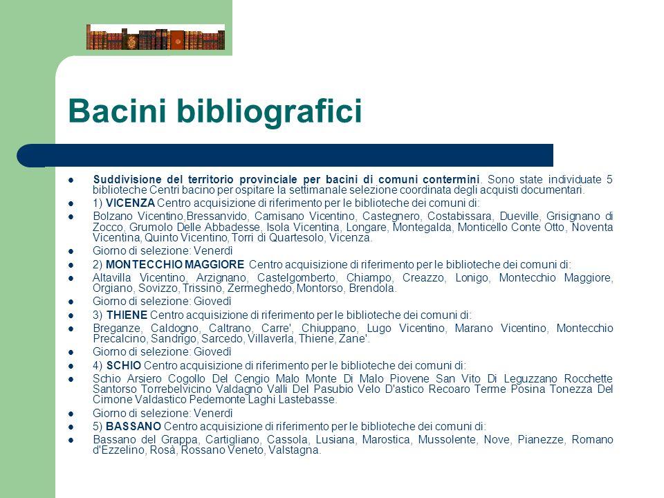 Bacini bibliografici Suddivisione del territorio provinciale per bacini di comuni contermini. Sono state individuate 5 biblioteche Centri bacino per o