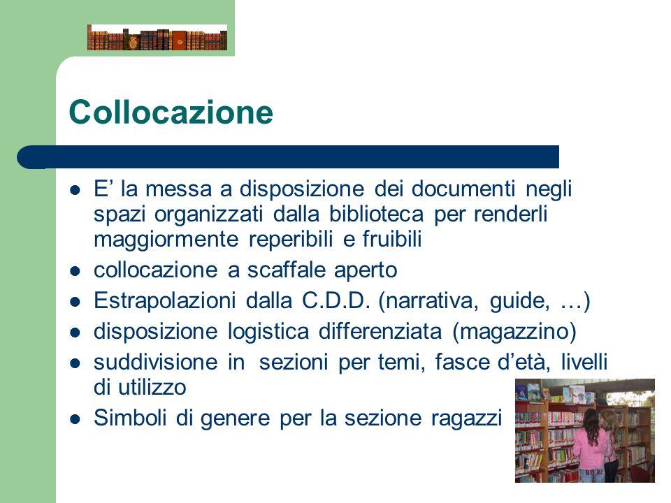 Collocazione E la messa a disposizione dei documenti negli spazi organizzati dalla biblioteca per renderli maggiormente reperibili e fruibili collocaz