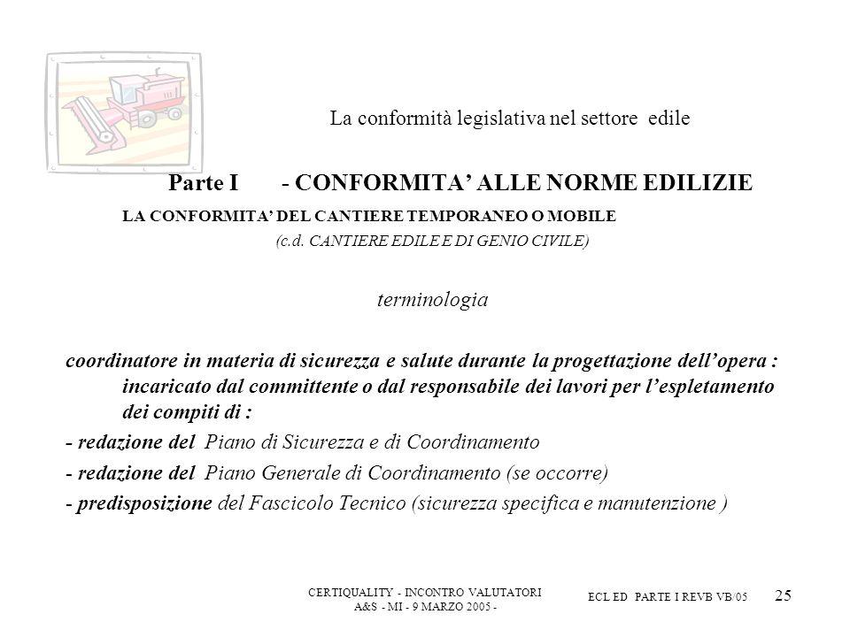 CERTIQUALITY - INCONTRO VALUTATORI A&S - MI - 9 MARZO 2005 - ECL ED PARTE I REVB VB/05 25 La conformità legislativa nel settore edile Parte I - CONFORMITA ALLE NORME EDILIZIE LA CONFORMITA DEL CANTIERE TEMPORANEO O MOBILE (c.d.