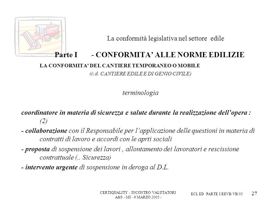 CERTIQUALITY - INCONTRO VALUTATORI A&S - MI - 9 MARZO 2005 - ECL ED PARTE I REVB VB/05 27 La conformità legislativa nel settore edile Parte I - CONFORMITA ALLE NORME EDILIZIE LA CONFORMITA DEL CANTIERE TEMPORANEO O MOBILE (c.d.
