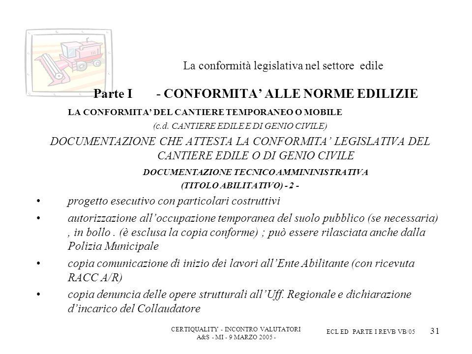 CERTIQUALITY - INCONTRO VALUTATORI A&S - MI - 9 MARZO 2005 - ECL ED PARTE I REVB VB/05 31 La conformità legislativa nel settore edile Parte I - CONFORMITA ALLE NORME EDILIZIE LA CONFORMITA DEL CANTIERE TEMPORANEO O MOBILE (c.d.