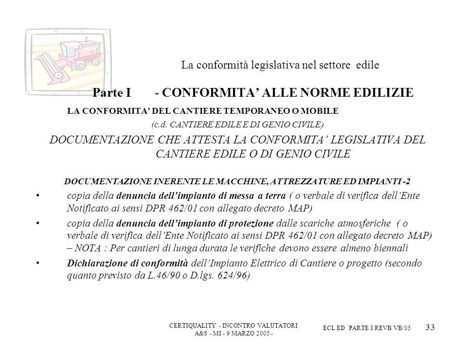 CERTIQUALITY - INCONTRO VALUTATORI A&S - MI - 9 MARZO 2005 - ECL ED PARTE I REVB VB/05 33 La conformità legislativa nel settore edile Parte I - CONFORMITA ALLE NORME EDILIZIE LA CONFORMITA DEL CANTIERE TEMPORANEO O MOBILE (c.d.