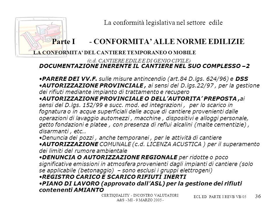CERTIQUALITY - INCONTRO VALUTATORI A&S - MI - 9 MARZO 2005 - ECL ED PARTE I REVB VB/05 36 La conformità legislativa nel settore edile Parte I - CONFORMITA ALLE NORME EDILIZIE LA CONFORMITA DEL CANTIERE TEMPORANEO O MOBILE (c.d.
