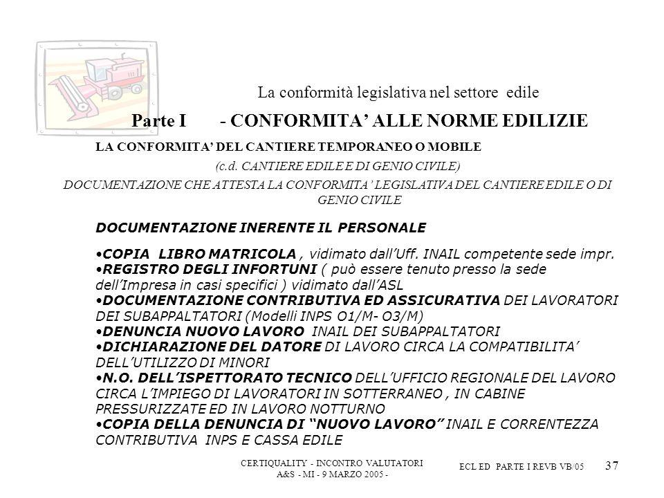 CERTIQUALITY - INCONTRO VALUTATORI A&S - MI - 9 MARZO 2005 - ECL ED PARTE I REVB VB/05 37 La conformità legislativa nel settore edile Parte I - CONFORMITA ALLE NORME EDILIZIE LA CONFORMITA DEL CANTIERE TEMPORANEO O MOBILE (c.d.