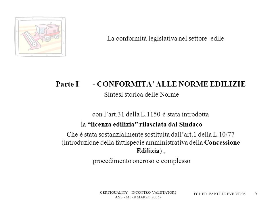 CERTIQUALITY - INCONTRO VALUTATORI A&S - MI - 9 MARZO 2005 - ECL ED PARTE I REVB VB/05 5 La conformità legislativa nel settore edile Parte I - CONFORMITA ALLE NORME EDILIZIE Sintesi storica delle Norme con lart.31 della L.1150 è stata introdotta la licenza edilizia rilasciata dal Sindaco Che è stata sostanzialmente sostituita dallart.1 della L.10/77 (introduzione della fattispecie amministrativa della Concessione Edilizia), procedimento oneroso e complesso