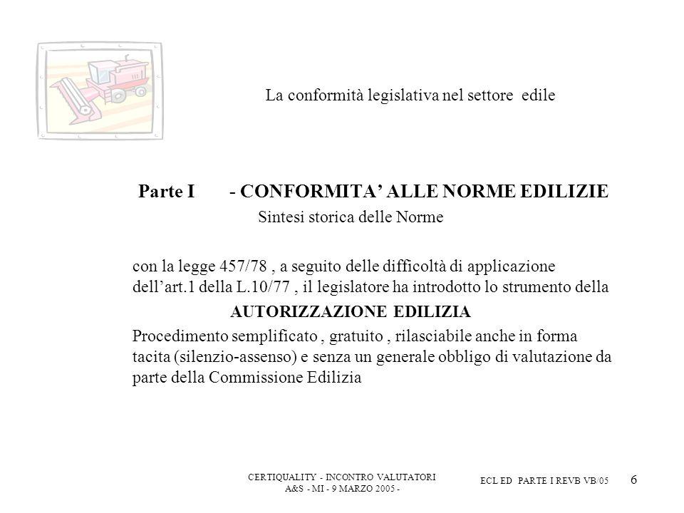 CERTIQUALITY - INCONTRO VALUTATORI A&S - MI - 9 MARZO 2005 - ECL ED PARTE I REVB VB/05 6 La conformità legislativa nel settore edile Parte I - CONFORMITA ALLE NORME EDILIZIE Sintesi storica delle Norme con la legge 457/78, a seguito delle difficoltà di applicazione dellart.1 della L.10/77, il legislatore ha introdotto lo strumento della AUTORIZZAZIONE EDILIZIA Procedimento semplificato, gratuito, rilasciabile anche in forma tacita (silenzio-assenso) e senza un generale obbligo di valutazione da parte della Commissione Edilizia