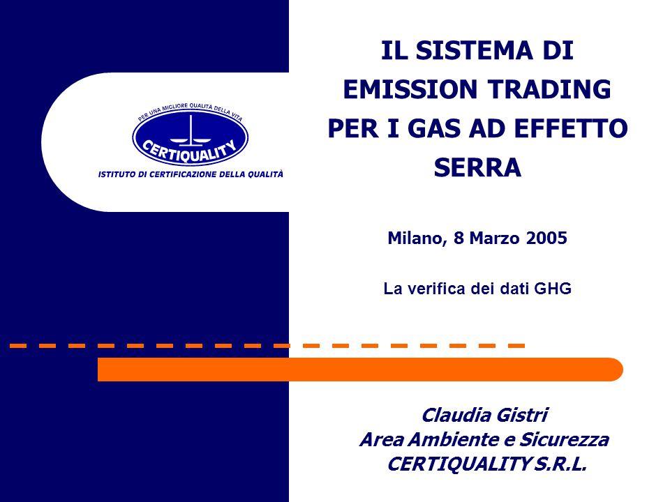 Claudia Gistri Area Ambiente e Sicurezza CERTIQUALITY S.R.L. IL SISTEMA DI EMISSION TRADING PER I GAS AD EFFETTO SERRA Milano, 8 Marzo 2005 La verific