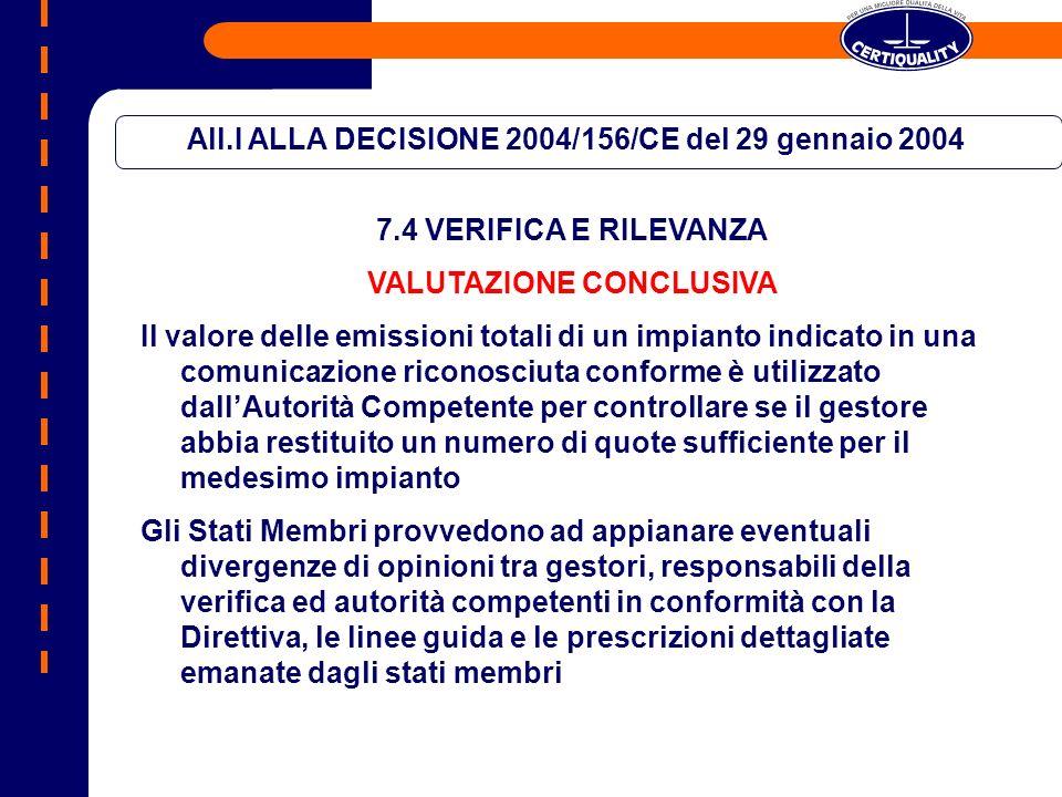 All.I ALLA DECISIONE 2004/156/CE del 29 gennaio 2004 7.4 VERIFICA E RILEVANZA VALUTAZIONE CONCLUSIVA Il valore delle emissioni totali di un impianto i