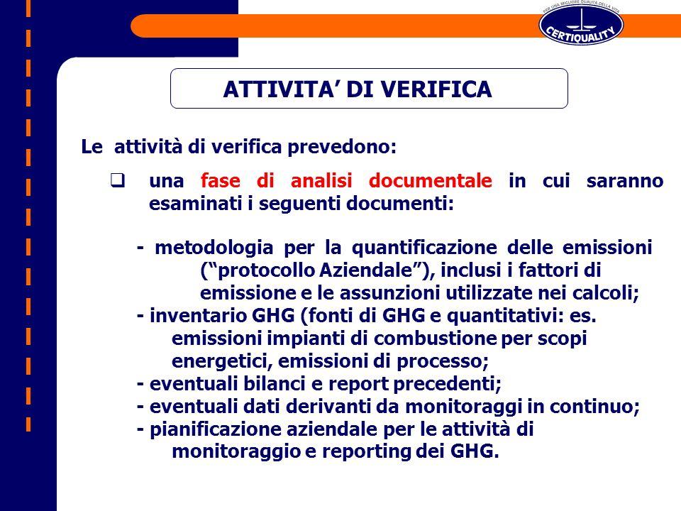 ATTIVITA DI VERIFICA - metodologia per la quantificazione delle emissioni (protocollo Aziendale), inclusi i fattori di emissione e le assunzioni utilizzate nei calcoli; - inventario GHG (fonti di GHG e quantitativi: es.