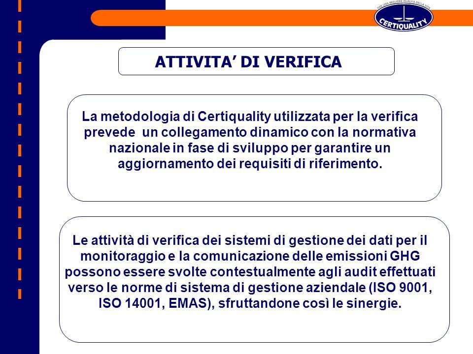 La metodologia di Certiquality utilizzata per la verifica prevede un collegamento dinamico con la normativa nazionale in fase di sviluppo per garantir