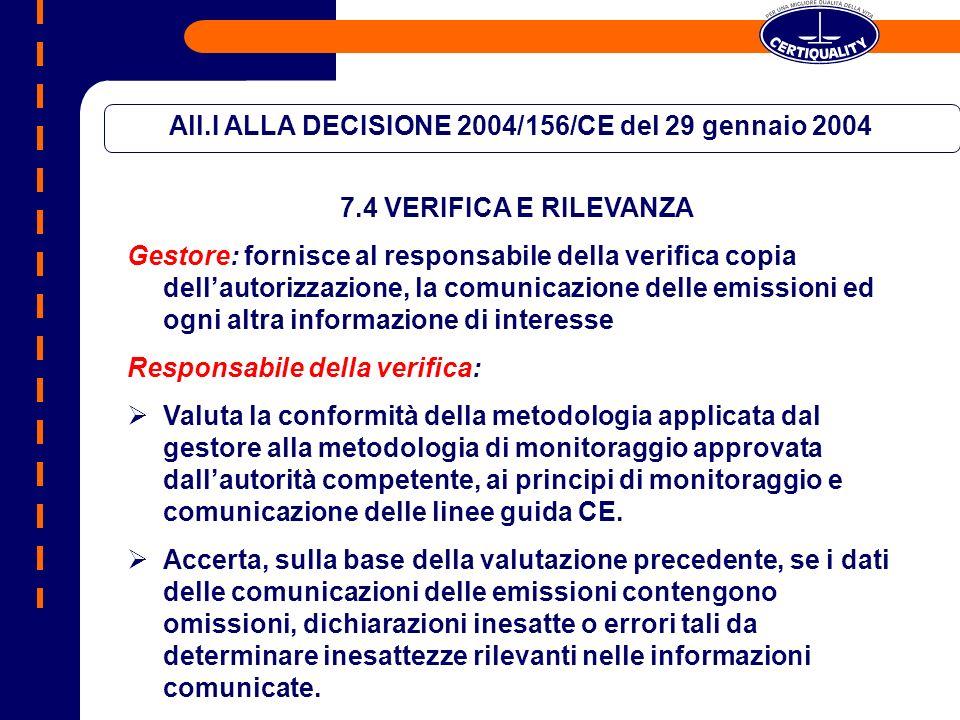 All.I ALLA DECISIONE 2004/156/CE del 29 gennaio 2004 7.4 VERIFICA E RILEVANZA DEFINIZIONI Livello di certezza la misura in cui il responsabile della verifica è convinto che nelle conclusioni della verifica sia stato dimostrato se le informazioni comunicate per un impianto nel suo complesso contengono o no inesattezze rilevanti Rilevanza giudizio professionale del responsabile della verifica in merito al fatto che una singola omissione, dichiarazione inesatta o errore o insieme di omissioni, dichiarazioni inesatte o errori nei dati presentati nella comunicazione relativa ad un impianto siano tali da poter plausibilmente influenzare le decisioni degli utilizzatori previsti della comunicazione.