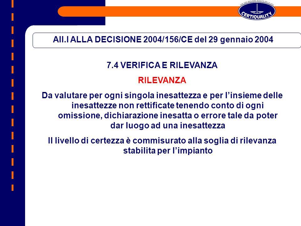 All.I ALLA DECISIONE 2004/156/CE del 29 gennaio 2004 7.4 VERIFICA E RILEVANZA RILEVANZA Da valutare per ogni singola inesattezza e per linsieme delle inesattezze non rettificate tenendo conto di ogni omissione, dichiarazione inesatta o errore tale da poter dar luogo ad una inesattezza Il livello di certezza è commisurato alla soglia di rilevanza stabilita per limpianto