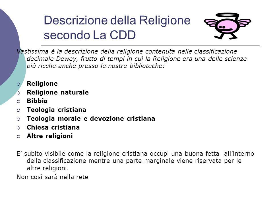 Descrizione della Religione secondo La CDD Vastissima è la descrizione della religione contenuta nelle classificazione decimale Dewey, frutto di tempi