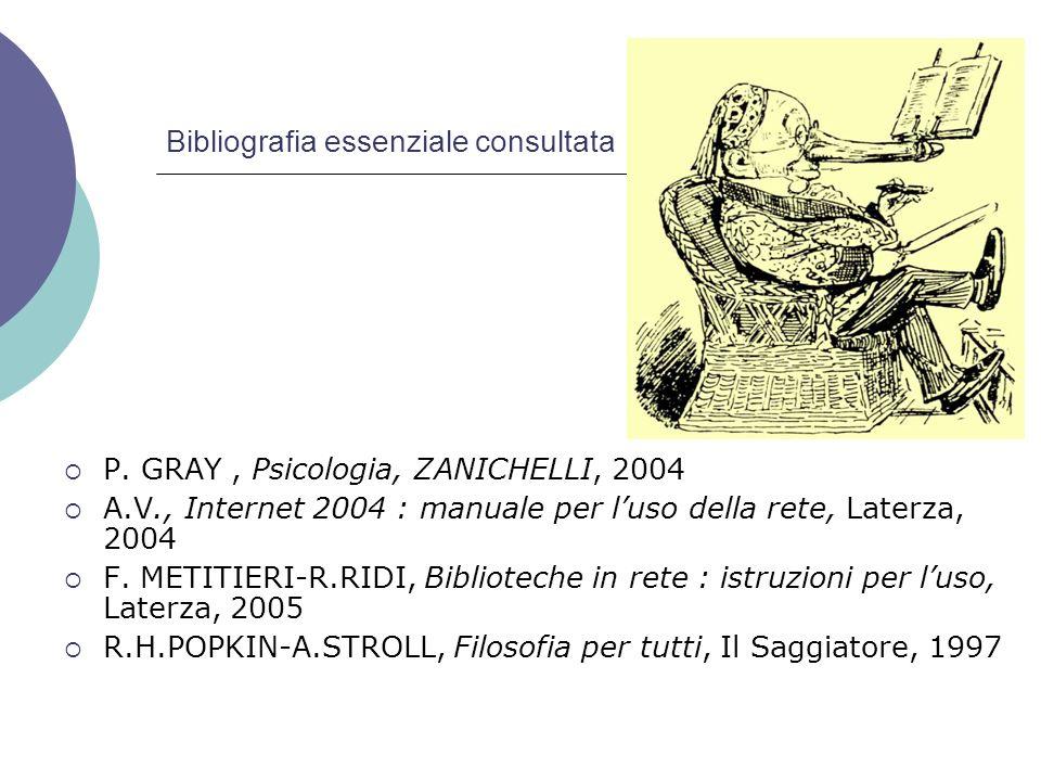 Bibliografia essenziale consultata P. GRAY, Psicologia, ZANICHELLI, 2004 A.V., Internet 2004 : manuale per luso della rete, Laterza, 2004 F. METITIERI