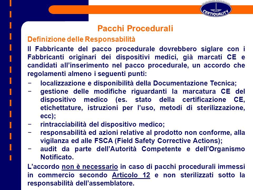 Pacchi Procedurali Definizione delle Responsabilità Il Fabbricante del pacco procedurale dovrebbero siglare con i Fabbricanti originari dei dispositiv