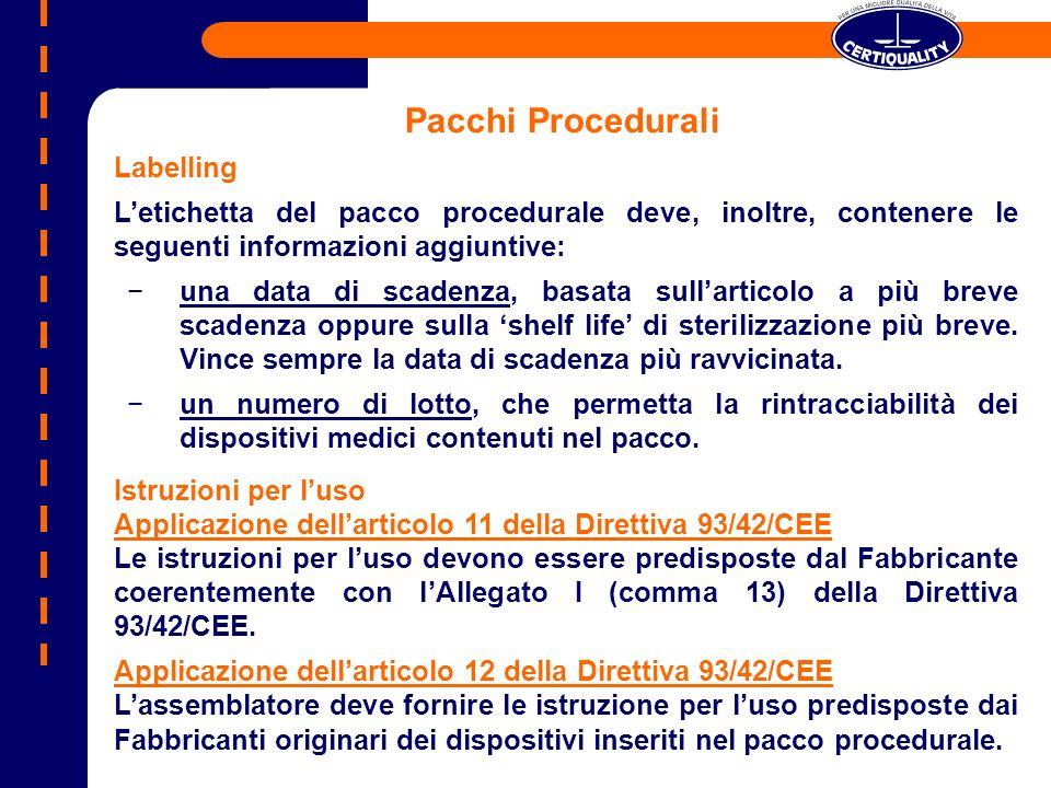 Pacchi Procedurali Labelling Letichetta del pacco procedurale deve, inoltre, contenere le seguenti informazioni aggiuntive: una data di scadenza, basa