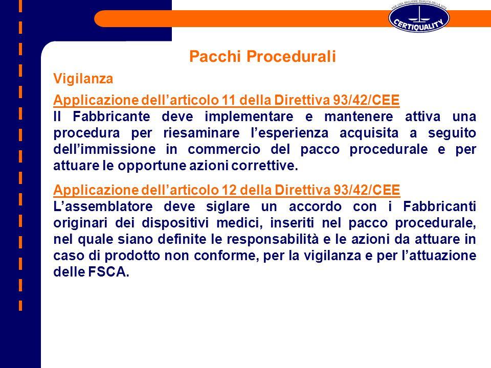 Pacchi Procedurali Vigilanza Applicazione dellarticolo 11 della Direttiva 93/42/CEE Il Fabbricante deve implementare e mantenere attiva una procedura