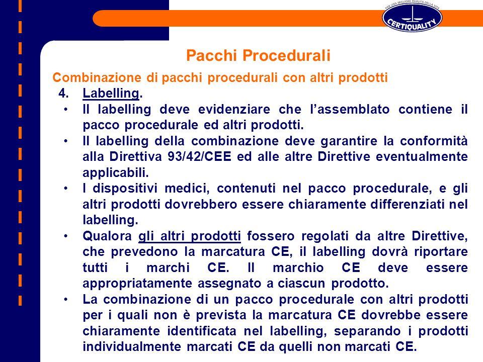 Pacchi Procedurali Combinazione di pacchi procedurali con altri prodotti 4.Labelling. Il labelling deve evidenziare che lassemblato contiene il pacco