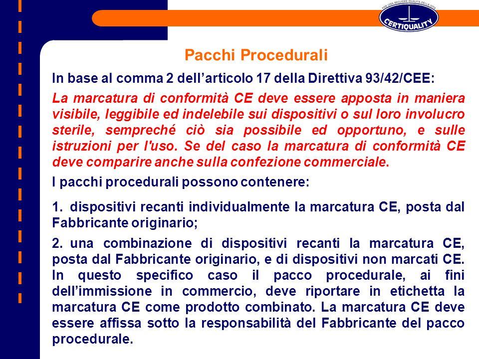 In base al comma 2 dellarticolo 17 della Direttiva 93/42/CEE: La marcatura di conformità CE deve essere apposta in maniera visibile, leggibile ed inde