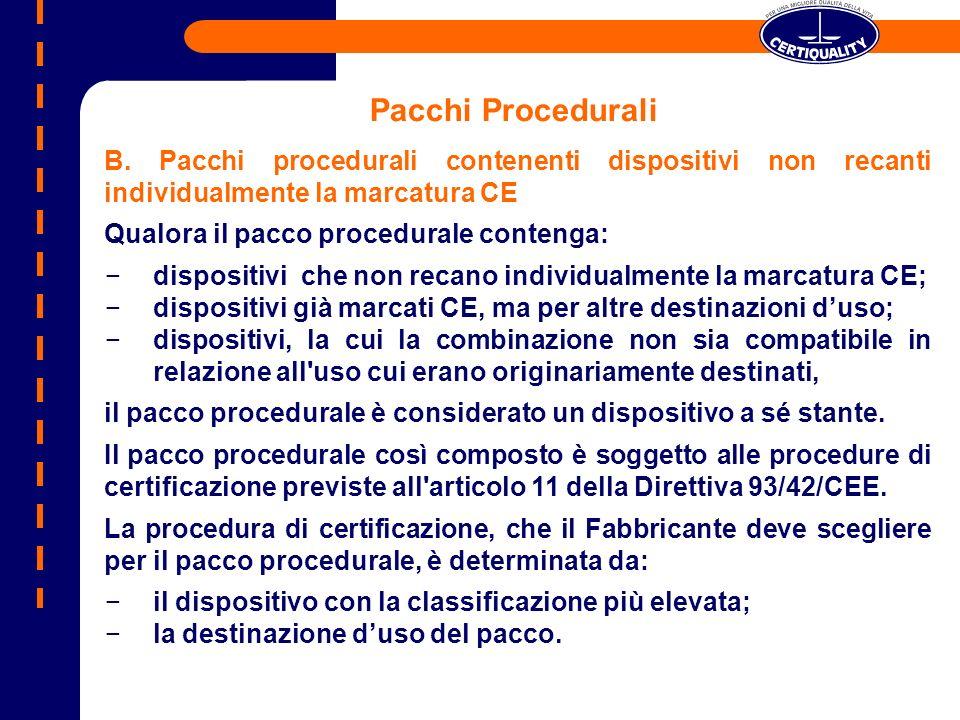 Pacchi Procedurali B. Pacchi procedurali contenenti dispositivi non recanti individualmente la marcatura CE Qualora il pacco procedurale contenga: dis