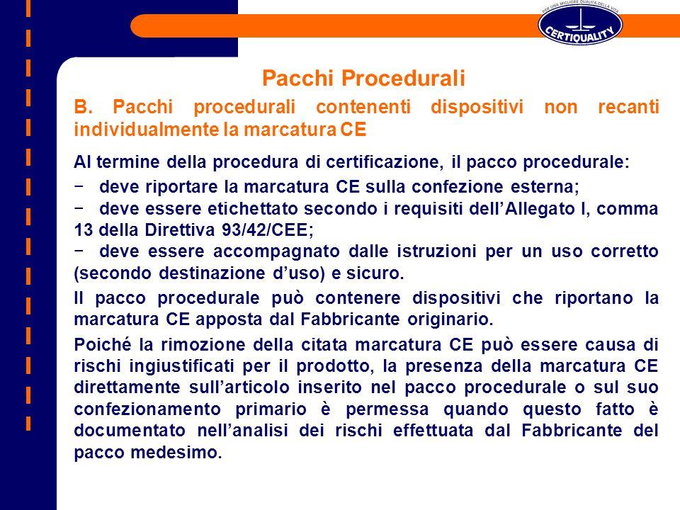 Pacchi Procedurali B. Pacchi procedurali contenenti dispositivi non recanti individualmente la marcatura CE Al termine della procedura di certificazio