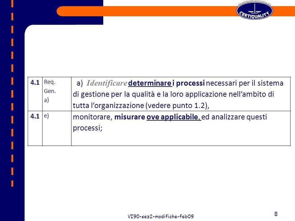 29 VI90-sez2-modifiche-feb09 29 8.5.2 f) f) esaminare lefficacia delle azioni correttive effettuate.
