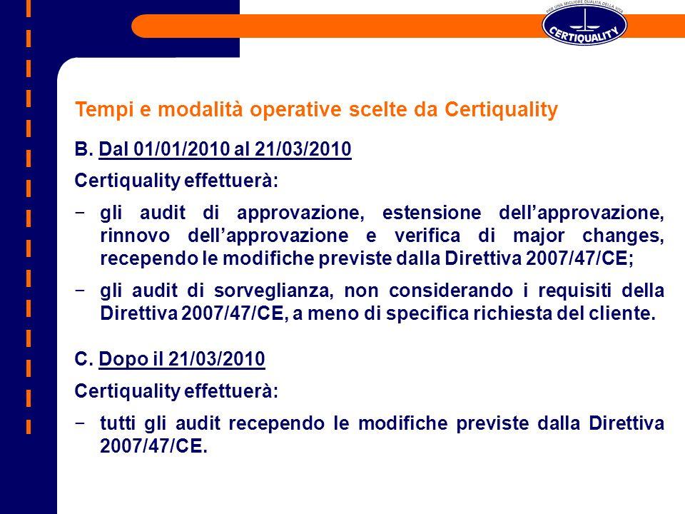 Tempi e modalità operative scelte da Certiquality B. Dal 01/01/2010 al 21/03/2010 Certiquality effettuerà: gli audit di approvazione, estensione della