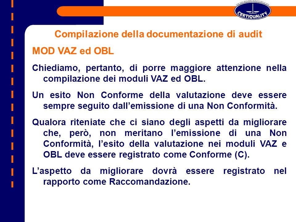 MOD VAZ ed OBL Chiediamo, pertanto, di porre maggiore attenzione nella compilazione dei moduli VAZ ed OBL. Un esito Non Conforme della valutazione dev