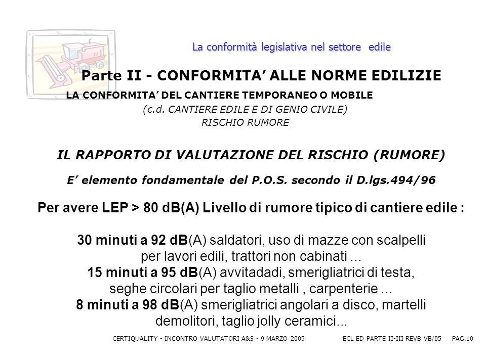 CERTIQUALITY - INCONTRO VALUTATORI A&S - 9 MARZO 2005ECL ED PARTE II-III REVB VB/05 PAG.10 La conformità legislativa nel settore edile Parte II - CONFORMITA ALLE NORME EDILIZIE LA CONFORMITA DEL CANTIERE TEMPORANEO O MOBILE (c.d.