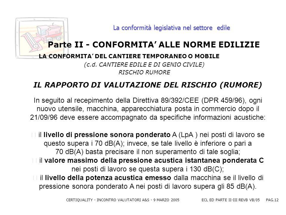 CERTIQUALITY - INCONTRO VALUTATORI A&S - 9 MARZO 2005ECL ED PARTE II-III REVB VB/05 PAG.12 La conformità legislativa nel settore edile Parte II - CONFORMITA ALLE NORME EDILIZIE LA CONFORMITA DEL CANTIERE TEMPORANEO O MOBILE (c.d.