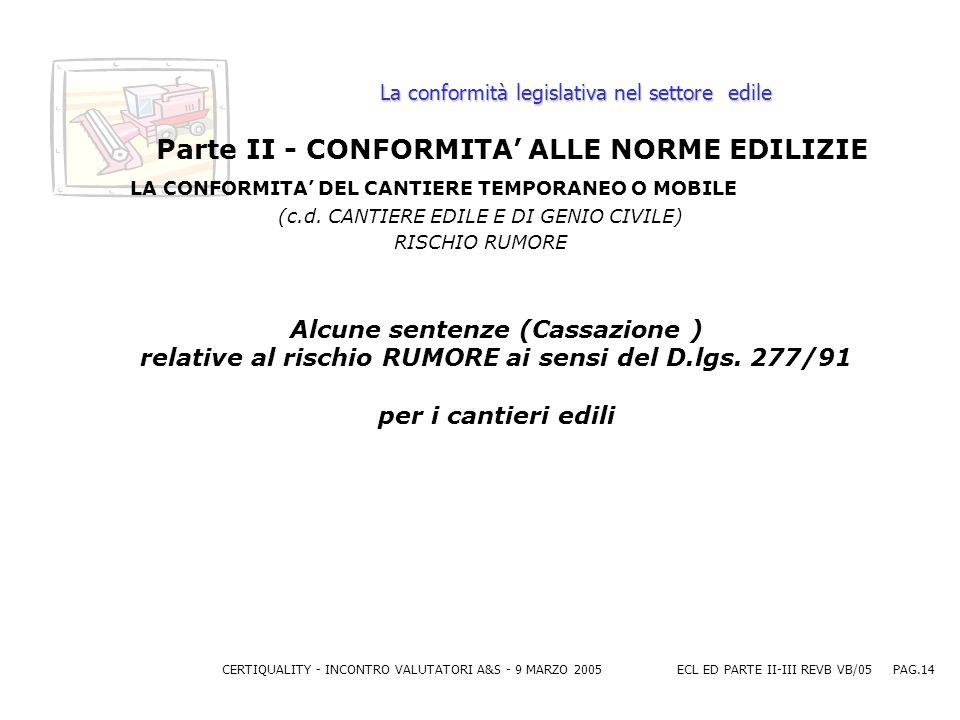 CERTIQUALITY - INCONTRO VALUTATORI A&S - 9 MARZO 2005ECL ED PARTE II-III REVB VB/05 PAG.14 La conformità legislativa nel settore edile Parte II - CONFORMITA ALLE NORME EDILIZIE LA CONFORMITA DEL CANTIERE TEMPORANEO O MOBILE (c.d.