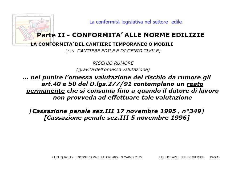 CERTIQUALITY - INCONTRO VALUTATORI A&S - 9 MARZO 2005ECL ED PARTE II-III REVB VB/05 PAG.15 La conformità legislativa nel settore edile Parte II - CONFORMITA ALLE NORME EDILIZIE LA CONFORMITA DEL CANTIERE TEMPORANEO O MOBILE (c.d.
